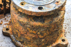 Detail and texture of the Rusty steel water supply pipe Royalty Free Stock Photography