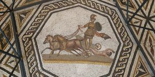Aldobrandini wedding, made up of mosaic fragments from the roman period. Vatican museum. Detail of the 19th century floor of the room of the Aldobrandini wedding royalty free stock images