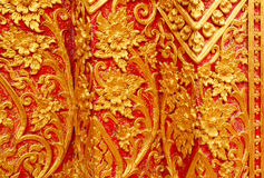 Detail of Thai pattern on temple pavilion wall Royalty Free Stock Images
