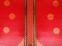 Detail of thai temple ceiling. Red ceiling thai style decoration Stock Photos