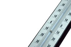 Detail of Thermometer. Isolated on white background Royalty Free Stock Photos