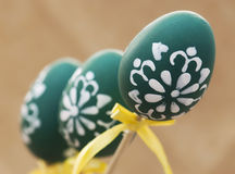 Three painted easter eggs Stock Photography