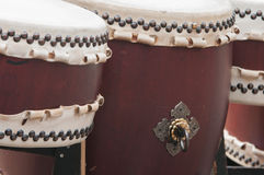 Detail of three taiko drums Royalty Free Stock Photography
