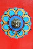 Detail of tibetan style door Stock Photography