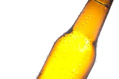 Detail of tilted bottle of fresh beer with drops Royalty Free Stock Photography