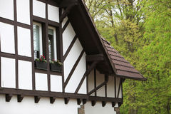 Detail of a timber frame house Stock Photos