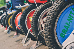 Detail of tires in the National Championship of Dirt Track Royalty Free Stock Photo
