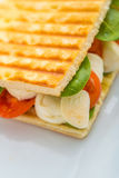 Detail of toast sandwich with vegetables and mozarella on white plate. Product photography Royalty Free Stock Image