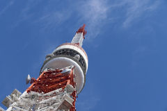 Detail of Tokyo tower, the landmark of Japan in blue sky Royalty Free Stock Photography