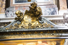 Detail on Tomb in the Basilica of Santa Maria Maggiori in Rome Italy. The Basilica is sometimes referred to as Our Lady of the Snows, a name given to it in the Stock Image