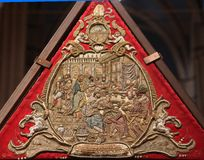 Detail of Tomb of God, exhibited on Holy Saturday in Zagreb Cathedral stock image