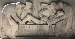 Detail of tomb reliefs at Mirogoj cemetery in Zagreb stock images