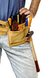 Detail of toolbelt on handyman Stock Photos