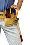 Detail of toolbelt on handyman stock photos