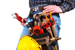 Detail of tools belt. Manual worker, detail of tools belt Stock Image