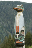 Detail of a totem pole carving Royalty Free Stock Photo