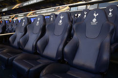 Detail of  Tottenham Hotspur substitutions bench Royalty Free Stock Photography