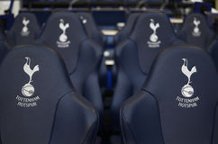 Detail of  Tottenham Hotspur substitutions bench Stock Photos