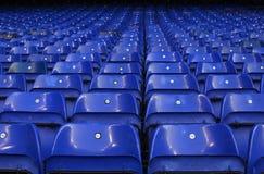 Detail of Tottenham's stadium White Hart Lane. Details of Tottenham's stadium seats pictured prior to the UEFA Europa League round of 16 game between Tottenham royalty free stock photo