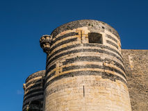 Detail of tower at Angers chateau, France, on a summer day Royalty Free Stock Photography