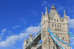 Detail on Tower Bridge, English and Union Jack flags Royalty Free Stock Photo