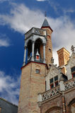Detail of a tower in Bruges, Belgium. Royalty Free Stock Images