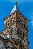 Detail of tower of the Church Papal basilica Santa Maria Maggi. Ore, the largest basilica in Rome, Italy royalty free stock images