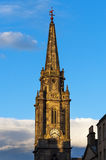 Detail of a tower with clock in High Street, Edinburgh, Scotland Royalty Free Stock Photography