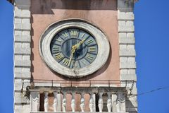 Clock of Guard house in Zadar. Detail of Town Guard house in Zadar, Croatia with clock tower built in  16th century on People`s Square Stock Photo