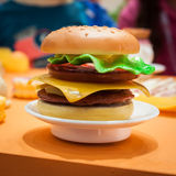 Detail of toy hamburger at G! come giocare in Milan, Italy Royalty Free Stock Images