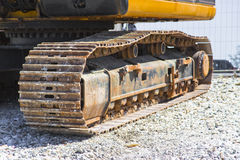 Detail of the track of a digging machine Royalty Free Stock Photo