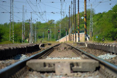 Detail of track in Libechov station in central Bohemia. In spring time Royalty Free Stock Photo