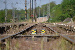 Detail of track in Libechov station in central Bohemia. In spring time Stock Photography