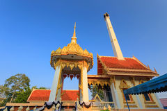 Detail of a traditional buddhist temple roof and blue sky Stock Photos