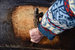 Detail of traditional home removal hair from slaughtered pig wit. H knife Stock Photography