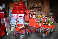 The detail of traditional hope chest of Yao ethnic minority bride. stock photo