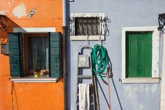 Detail of a traditional house in Burano island, Venice Royalty Free Stock Images