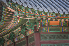 Detail of Traditional Korean Roof, Colourful Decorated Ornament Stock Photos