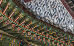 Detail of Traditional Korean Roof, Colourful Decorated Ornament Royalty Free Stock Image