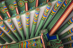 Detail of Traditional Korean Roof, Colourful Decorated Ornament Royalty Free Stock Images