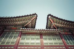 Detail of Traditional Korean Roof, Colourful Decorated Ornament Royalty Free Stock Photo