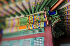 Detail of Traditional Korean Roof, Colourful Decorated Ornament Stock Image