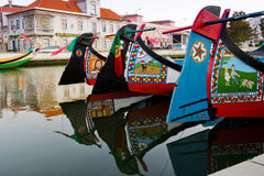 Detail of traditional moliceiro boats in Aveiro, Portugal. View of handmade paints in traditional moliceiro boats, in a canal of Aveiro, Portugal Stock Photography