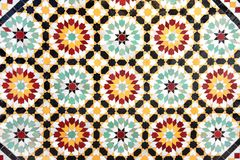 Detail of traditional moroccan mosaic wall, Morocco stock photo