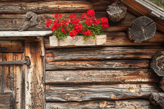 Detail of a traditional old balcony  with red geraniums from an Royalty Free Stock Images
