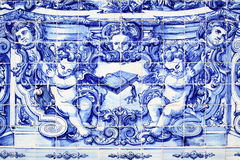 Detail of traditional portuguese tilework azulejo Stock Images