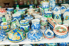 Detail of traditional Romanian colored pottery royalty free stock photos