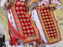 Detail of traditional Romanian folk costumes for women Royalty Free Stock Photography