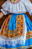 Detail of traditional Slovak folk costume worn by women Royalty Free Stock Image