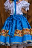 Detail of traditional Slovak folk costume worn by women Stock Image